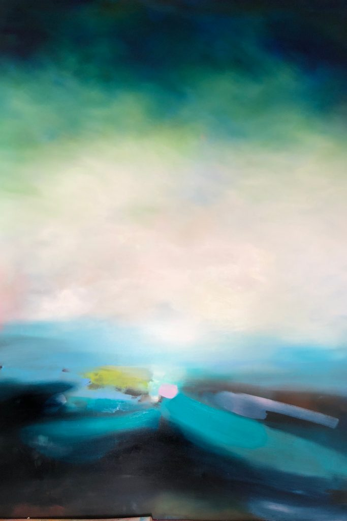 A large painting on aluminium by Laura Rich