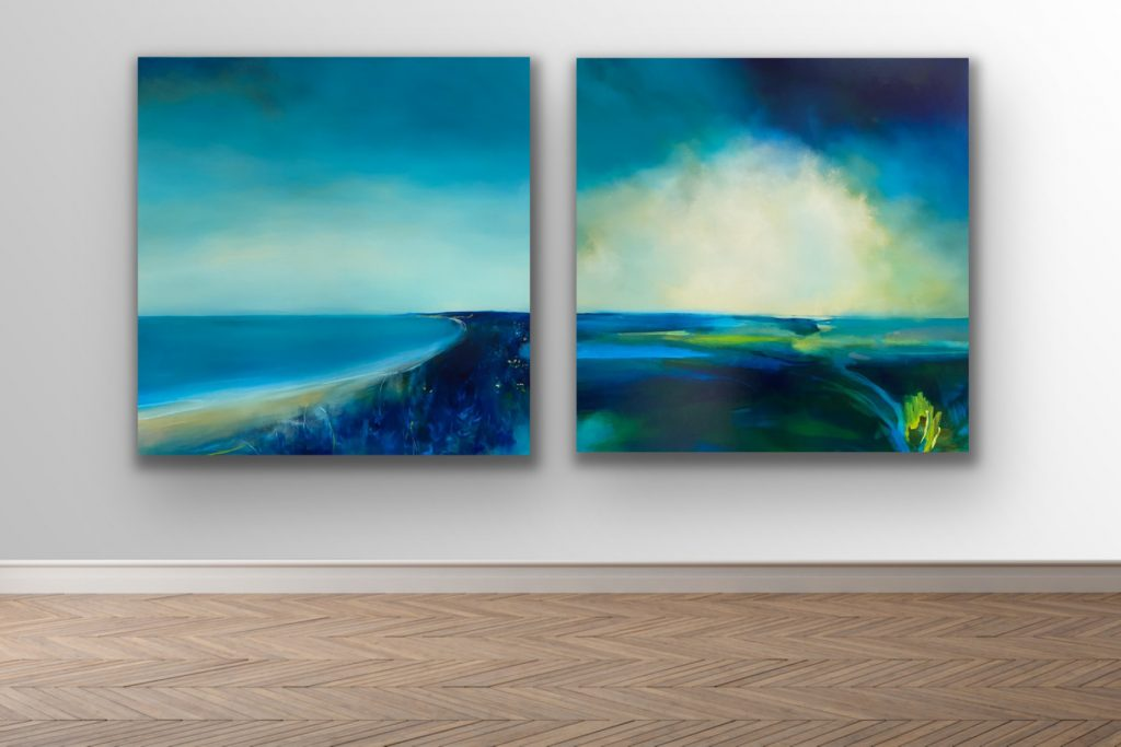 Two paintings hung together by Laura Rich